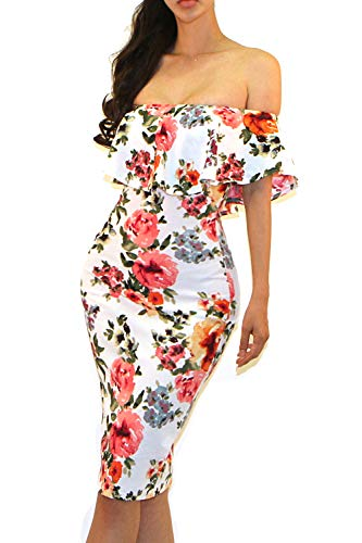 Vivicastle Women's USA Off Shoulder Ruffle Bodycon Fitted Midi Dress (D80, Multi, X-Large) ()