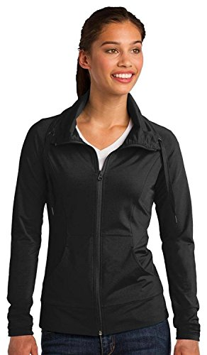 Sport-Tek LST852 Women's Sport-Wick Stretch Full-Zip Jacket - Black LST852 L