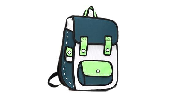 ef0fad929e4b4 Funny cosas nueva Era Serie 3d y 2d dibujo de dibujos animados bolsa de papel  Comic 3d Messenger Bag Verde  Amazon.es  Juguetes y juegos