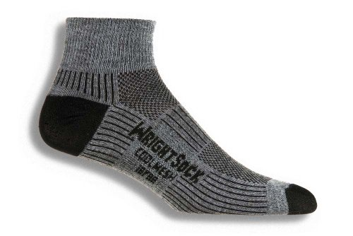 Wrightsock Coolmesh II Quarter Running Socks - 2 Pack, Grey, X-Large
