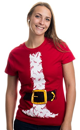 Santa Claus Costume | Jumbo Print Novelty Christmas Holiday Humor Ladies' T-shirt-Ladies,M