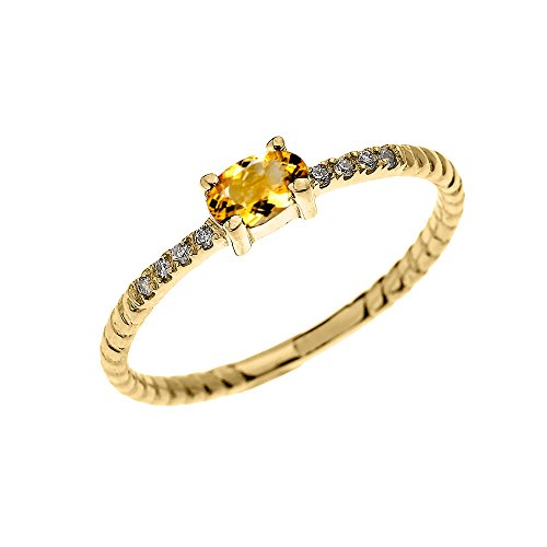 Dainty 14k Yellow Gold Diamond and Solitaire Oval Citrine Rope Design Stackable/Proposal Ring(Size 7)