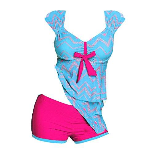 Pantaloncini S Costumi Costume Bagno Donna Da Tankini Plus 5XL Pezzi Donna Size stampa Adorabile Blu Junkai Girocollo Due Elegante Intero gqx06qwT