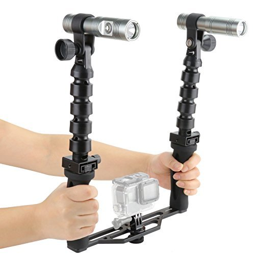 D&F Underwater Torch 100M Diving Flash Light Kit with Handle Stabilizer for GoPro Hero 6/5/4/3+/3 SJCAM SJ4000/5000 Snorkeling by D&F
