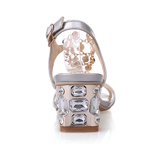 Buckle Silver Toe Sandals Assorted Color Womens AmoonyFashion Open Soft heels Material Kitten x0IpPaR