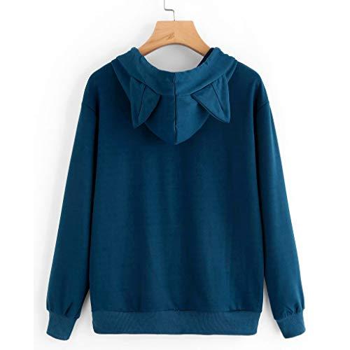A Pullover Magliette Cotone Cappuccio Longra Con Tops Gattino Stampa E Blu Eleganti Sweatshirt Casual Felpe Primavera Tumblr Ragazza Autunno Manica Lunga 8wn0mN