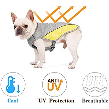 Rantow Dog Cooling Vest Harness Outdoor Puppy Cooler Jacket Reflective Safety Sun-Proof Pet Hunting Coat, Best for Small Medium Large Dogs (S(Chest 15.75