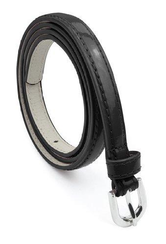 Women Bonded Leather Dress Belt Polished Buckle Belle Donne - Black Medium