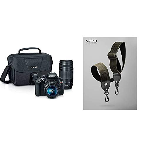 Canon EOS Rebel T6 Digital SLR Camera Kit with EF-S 18-55mm and EF 75-300mm Zoom Lenses (Black) with JL GEAR Nord Corduroy Universal Camera Strap with Quick Release System, Classic