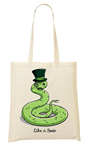 CP Like A Sir Funny Snake Man Text Bolso De Mano Bolsa De La Compra