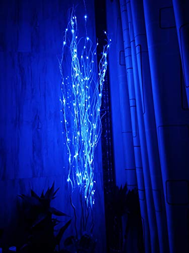 51Inch LED Natural Willow Twig Lighted Branch for Christmas Wedding Party Home Decoration Battery Powered DIY (Blue)