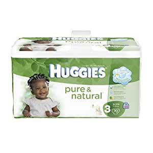 Huggies Pure & Natural Diapers, Size 3, 70 Count (Pack of 2) (Packaging May Vary)