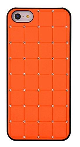 Compact stile Iphone 4 / 4S CRISTALLO DI LUSSO Croce diamante arancione Bling duro della copertura con la pagina nera per Apple iPhone 4 / 4S