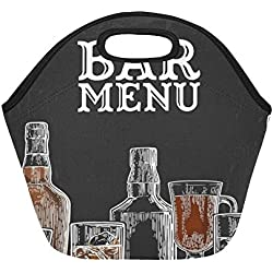 Insulated Neoprene Lunch Bag Template Bar Menu Alcohol Drink Bottle Large Size Reusable Thermal Thick Lunch Tote Bags For Lunch Boxes For Outdoors,work, Office, School