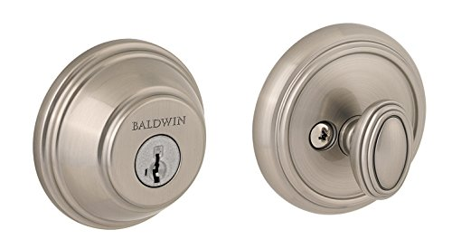 Baldwin Prestige 380 Round Single Cylinder Deadbolt Featuring SmartKey in Satin - Baldwin Bolts
