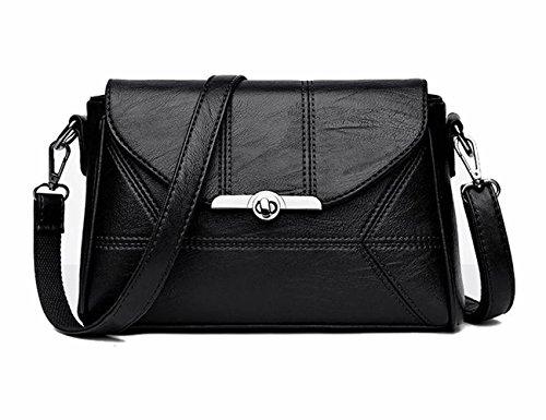 Women Crossbody Shoulder Bag Purse PU Leather Black with Adjustable Strap