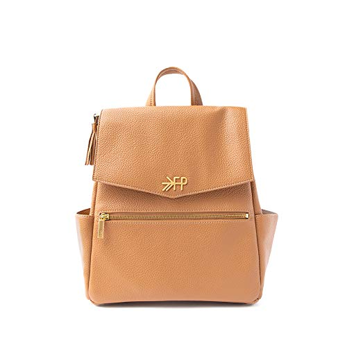 Freshly Picked - Convertible Mini Classic Diaper Bag Backpack - Large Internal Storage 8 Pockets Wipeable Vegan Leather - Butterscotch Tan