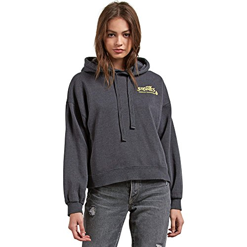 (Volcom Junior's Knew Wave Boxy Pullover Graphic Hooded Sweatshirt, Black Small)