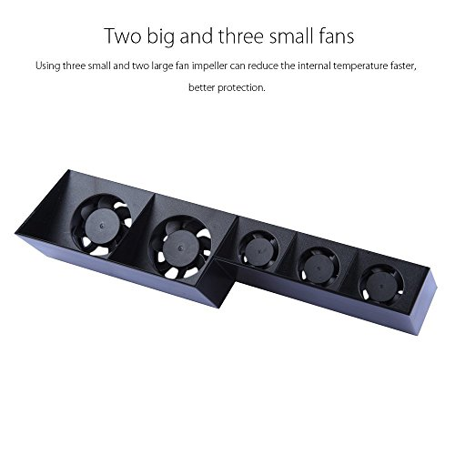 SUNKY USB External 5-Fan Super Turbo Temperature Cooling Fan with USB Cable Black for Sony Playstation 4 Gaming Console