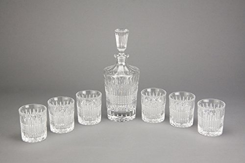 Superior Crystal Decanter Set by Luxe Crystal & Glass, 7-Piece Set in Black Gift Box