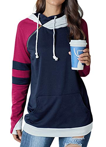 Happy Sailed Women Colorblock Long Sleeve Cowl Neck Drawstring Hoodies Double Hooded Pullover with Pockets XX-Large Blue