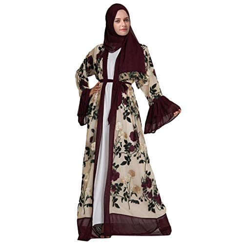 Coco-Z 2019 comf Muslim Flower Embroidery Open Long Cardigan Maxi Dress Kimono Abaya Kaftan Red (Cultural Dress Up Clothes)