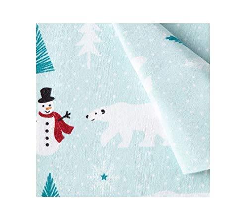 North Pole Trading Co. 100% Cotton Heavyweight Flannel Sheet Set Winter Polar Bears & Snowmen (Twin XL)