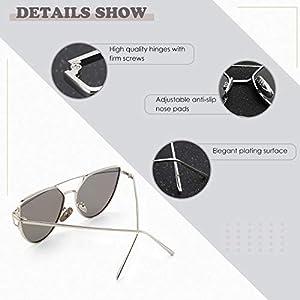 SUNIER Cat Eye Mirrored Flat Lenses Polarized Metal Frame Women Sunglasses SR004