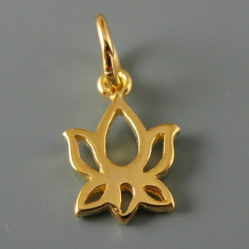 - Vermeil - 18k Gold Plated Over Sterling Silver - Lotus Flower Charm Pendant 10mm (5 Pieces)