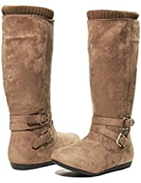 Girls Microsuede Winter Boots with Buckle Knit Cuff Trims Casual Shoes