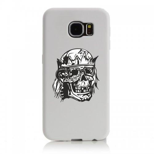"""Smartphone Case Apple IPhone 7+ Plus """"Totenschädel im Paradies mit Sonnenbrille und Krone Skelett Rocker Motorradclub Gothic Biker Skull Emo Old School"""" Spass- Kult- Motiv Geschenkidee Ostern Weihnach"""