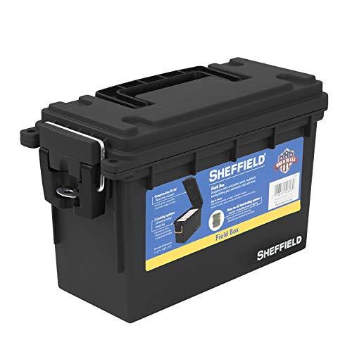 Sheffield 12629 Field Box | Great Pistol, Rifle, or Shotgun Ammo Storage Box (Black) | Safe and Tamper-Proof with 3 Locking Options | Stackable and Water Resistant | Made in The U.S.A.