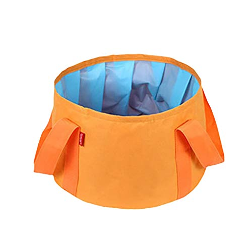 Fan-Ling Foldable Laundry Basket,Large Folding Cloth Washing Box, Outdoor Travel Folding Bucket Wash Basin Collapsible Portable Waterproof 15L,Saves Space (Orange)