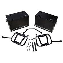 Tusk part # 1467340002 Tusk Aluminum Panniers with Pannier Racks Large Black Fits 2008- 2015 Kawasaki KLR 650