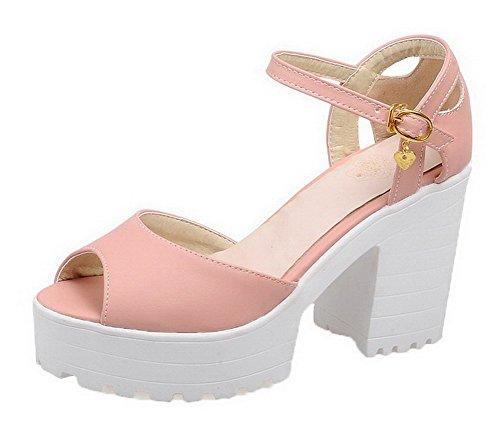 VogueZone009 Women High-Heels Solid Open Toe Sandals, CCALO012352 Pink