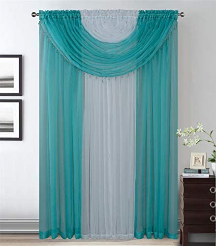 4 Panels With Attached Valances All-In-One Turquoise White Sheer Rod Pocket Curtain Panel 84 Inches Long With Crystal Beads – Window Curtains for Bedroom, Living Room or Dinning Room