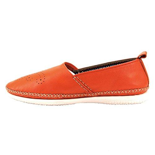 Santimon Soft Orange Slip Genuine on Leather Men's Moccasins Carving Loafters Shoes rSP5rq