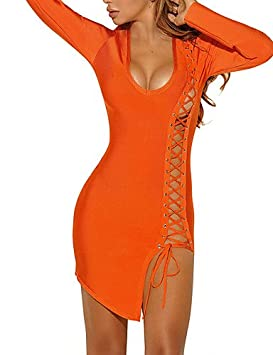 GAOLIM Womens Bodycon Vestido - Sólidos, Corte Asimétrico Con Cruce De Cuello U,Naranja