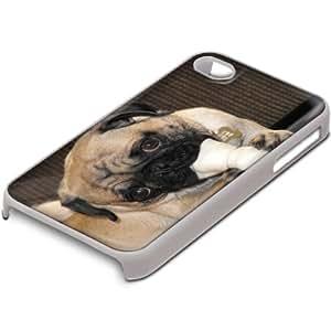 Perros 10033, Bulldog, Custom Design Blanco PC Ultradelgado Caso Duro Carcasa Funda Protección Tapa Hard Case con Diseño Colorido para Apple iPhone 4 4S.