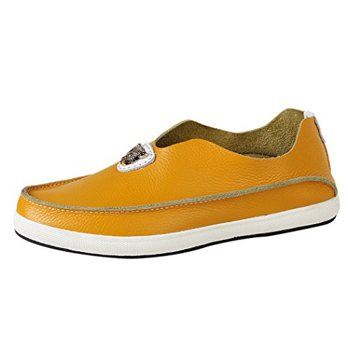 WALK-LEADER Mens Funny Leisure Slip On Loafers Leather Stylish Sneakers Yellow 7 UK