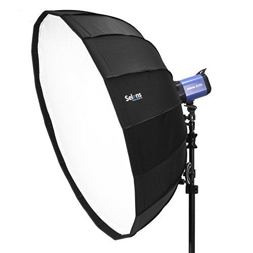 Selens Hexadecagon Softbox 26 inches / 65 Centimeters Parabolic Quick Folding Umbrella Softbox Diffuser with Bowens Speedring Mount for Bowens, Studio Flash Speedlite, Interfit and Compatible Lights