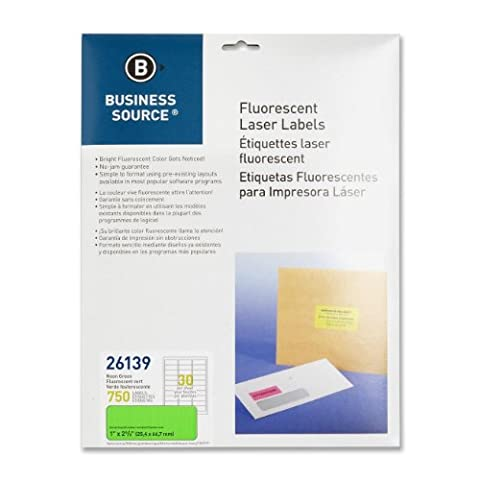 Business Source Green Fluorescent Laser Labels - Pack of 750 - Neon Laser Etichette