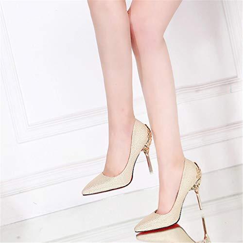 Tacones Zapatos Bombas Moda Zapatos de Mujeres Sexy Boda Fiesta Zapatos calados de Oro dtRxxwFnqE
