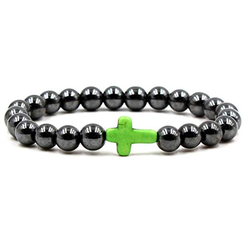(BaiYunPOY 8mm Handmade Charm Prayer Beaded Yoga Bracelet for Men Women - Natural Energy Beads Bracelet Healing Bangle - Hematite Green Cross)