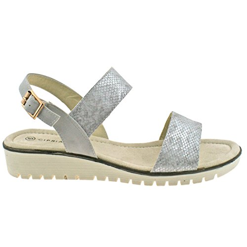 EU UK Silver Buckle L236 3 Ladies OR Gold Heeled Shimmer KD Silver Wedge Low 36 CIPRIATA Sandals UOZTS