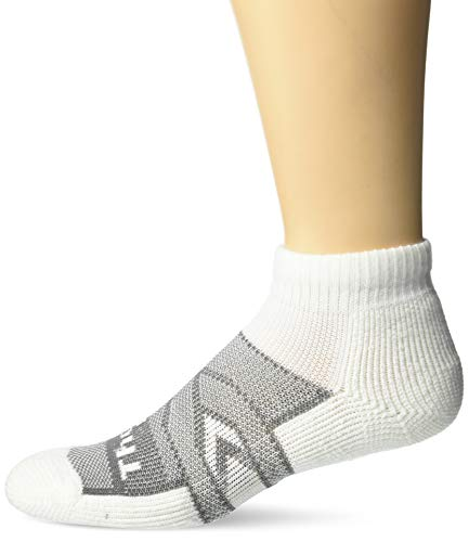 Thorlos Unisex-Adult's 12 Hour Shift Thick Padded Work Socks (Crew/Ankle/Over-The-Calf), White/Grey), X-Large