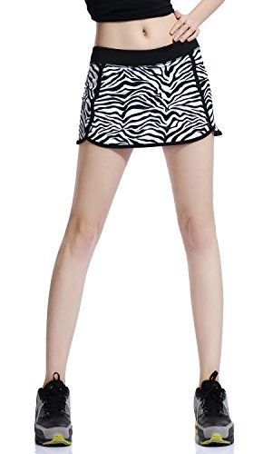 Women's Casual Gym Tennis Skirt with Shorts (xs, Zebra (Zebra Skort)