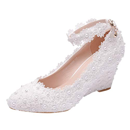 - Big Sale!Crystal Wedding Pointed Toe Sandals Shoes High Heel Wedges Shoes,BBesty Women's Shoes,for Casual,Travel White
