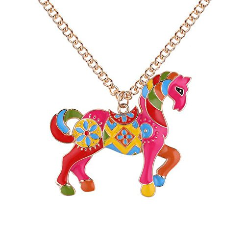 YINLI Charms Enamel Rainbow Horse Pendant Necklace Fashion Jewelry Gold Plated