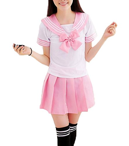 Anime School Girl Outfit (Kobwa(TM) Women Anime School Girl Uniform Outfit Dresses (Pink,L))